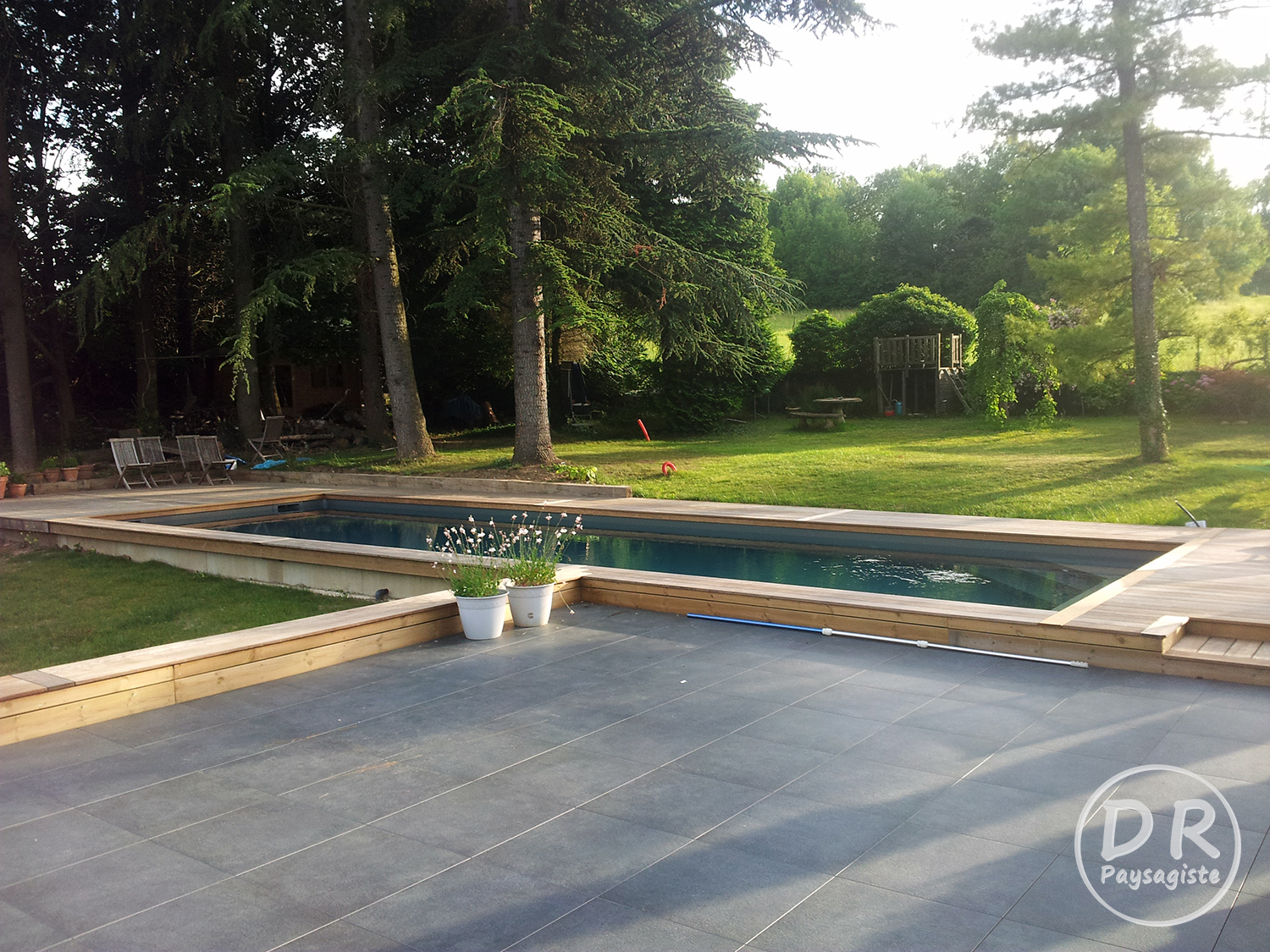 Terrasse Bois Carrelage Foret David Robert Paysagiste