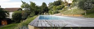 Terrasse bois ipé vue inférieure fond d'ecran