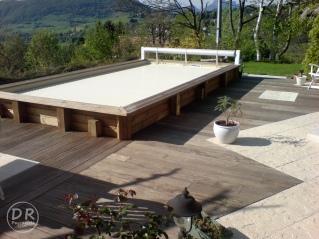Intégration dalles ciment avec terrasse bois