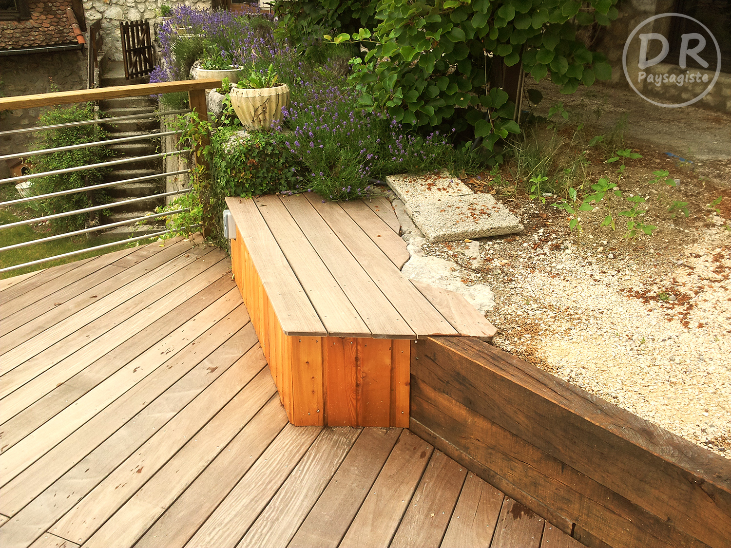Terrasse bois ip barri re banc david robert paysagiste - Barriere bois terrasse ...