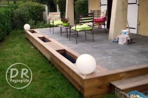 Terrasse rénovée ipé carrelage grès cérame