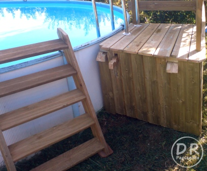 Passerelle barri re et cl ture en bois david robert paysagiste - Barriere piscine escamotable ...
