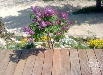 Aménagement extérieur Végétalisation bute roches terrasse bois